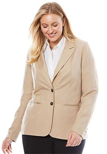 Fully Lined Tailored Blazer - Jessica London Women's Plus Size Single-Breasted Linen Blazer New Khaki,16