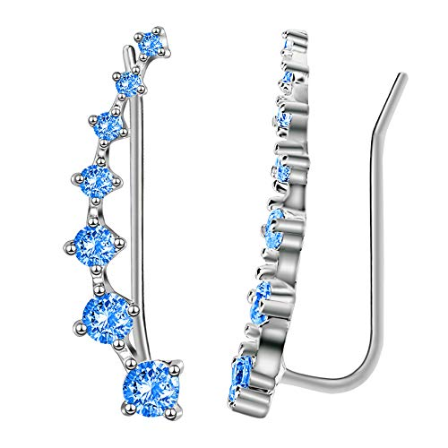 - Sterling Silver Sweep up Ear Pin Crawler Jackets Cuff Wrap Climber Earrings with 7 CZ Stones Simulated Diamond Ear Crawler - Cuff Earrings Hypoallergenic Stud Ear Climber Jackets (Blue)