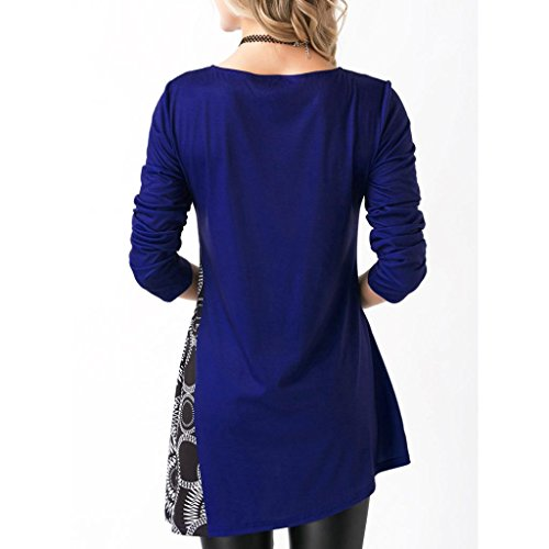 shirt Chic Pull Tops Sweatshirt Tunique Femmes Manche Col Haut Chemise Elegant Pullover Blouson Rond Patchwork Blouse Hemd Loose Bleu Casual longue T Chemisier Mode Tunika Impression Reaso SvaTxqS