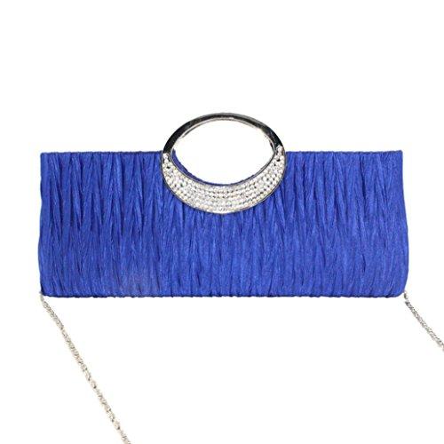 Saingace Cutches Bags for Women, Women Elegant Evening Wedding Purse Clutch Rhinestone Satin Pleated Handbag Blue