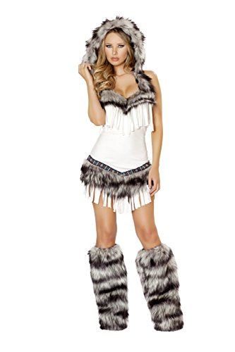 Plus Size Sexy Indian Princess Costumes (1 Piece Indian Princess Fringe Fur White Dress With Hood Costume)