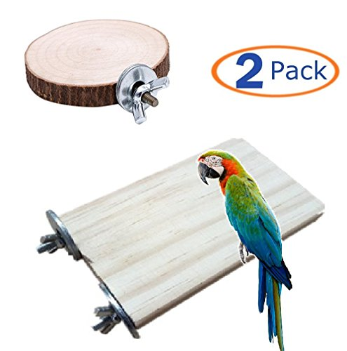 Round Perch - Hamiledyi Parrot Cage Perch, Wooden Platform for Birds,Pet Parrot Bird Round Wooden Coin Platform Chew Toy for Birdcage Accessories(Pack of 2) (Bird Perch)