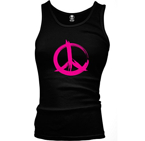 Hot Pink Paint Stroke Peace Sign Swift Pigeon Ladies Beater Tank Top (Medium Black)