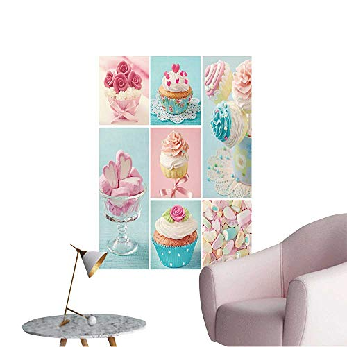 Vinyl Artwork Pastel Colored Cupcakes and Marshmallow Collage Easy to Peel Easy to Stick,32