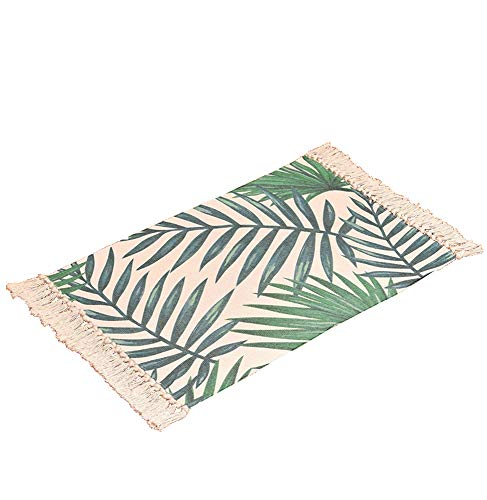 Wolala Home Hand Woven Green Leaf Print Fringe Rug Braided Throw Rug with Non-Skid Pad for Indoors Hallway,Kitchen,Bathroom,Home Decor,Resists Stains Floor Mat - Leaf Rug Print