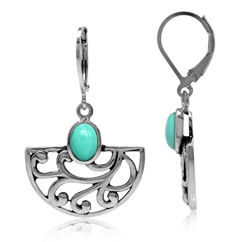 Silvershake Created Green Turquoise 925 Sterling Silver Filigree Swirl and Spiral Semi Circle Leverback -
