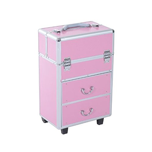 Soozier 4 Tier Lockable Cosmetic Makeup Train Case with Extendable Trays - Pink