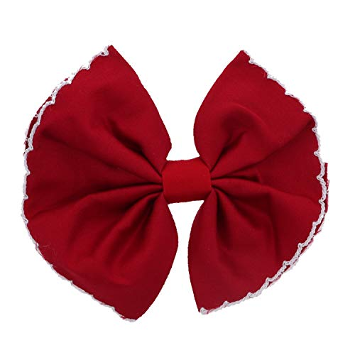 Scalloped Edge Bow Hair Clip Large Red