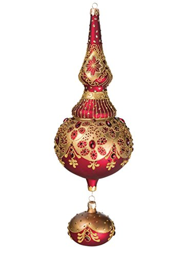 Sullivans Red and Gold Filigree Finial with Drop Ornament Home - Filigree Finial