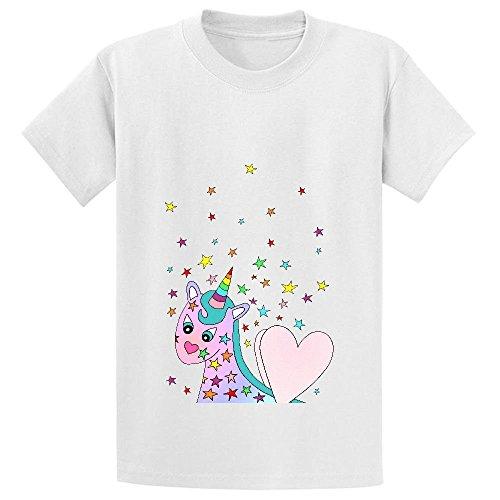 Snowl Pink Rainbow Unicorn Girls Crew Neck Short Sleeve T Shirt White (Editable Cake Topper)