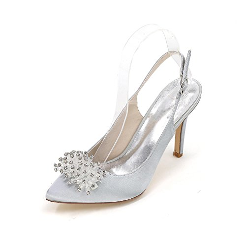 L@YC Women'S Wedding High-Heeled Shoes after The Tip Of Fine Fine Wedding Shoes Custom Multi-Color Large Yards Silver