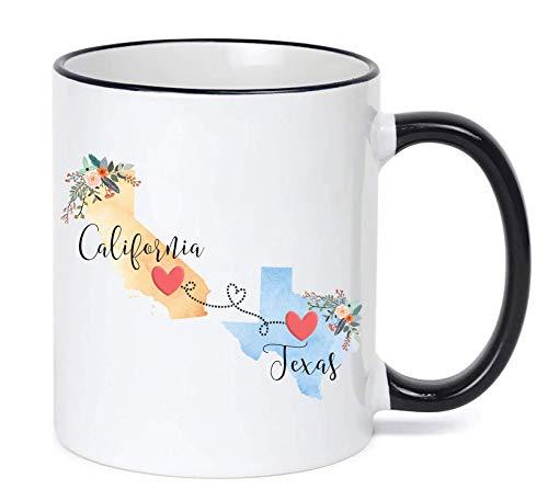 California Texas Mug/Texas California Mug/Coffee Mug Gift/Closing Gift/Moving Away Present/Long Distance Friendship (Mug California)