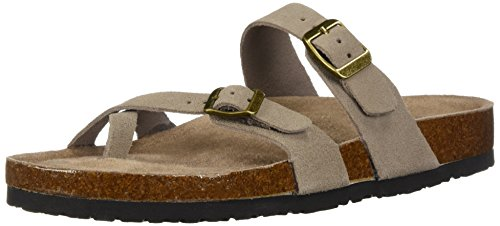 Skechers Women's Granola-Opt Out-Double Buckle Toe Thong Slide Flip-Flop, Taupe, 7 M US