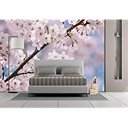 Large Wall Mural Sticker [ Spring Decor,Floral Tree Branches Cherry Blossom Petals Buds Flourishing Nature Landscape,Baby Pink ] Self-Adhesive Vinyl Wallpaper/Removable Modern Decorating Wall Art