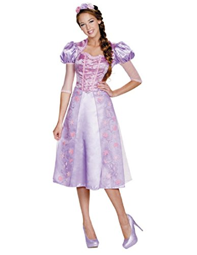Disguise Women's Rapunzel Deluxe Adult Costume, Purple, Small (Costumes For Adults Halloween)