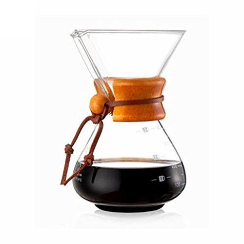 400 ml, 3 tazas cafetera de cristal estilo Chemex vierta ...