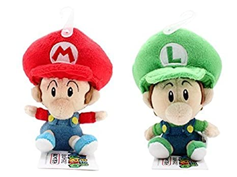 Set of 2 Sanei Baby Mario and Baby Luigi Plush Doll