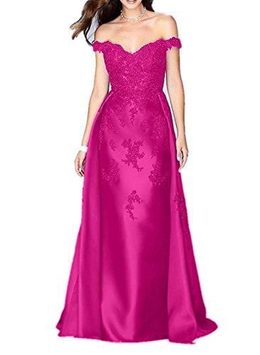 Glamout Etuikleider Damen Charmant Spitze Lang Promkleider Ausschnitt Fuchsia V Abendkleider Partykleider ap7xFw1nxR