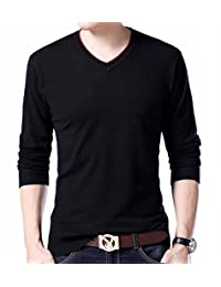 Jaycargogo Mens Slim Fit Basic Knitted Long Sleeve V-Neck Pullover Sweaters