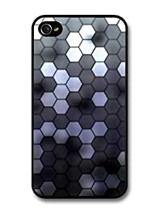 Hexagonal Hive Pattern in Black and White carcasa de iPhone 4 4S