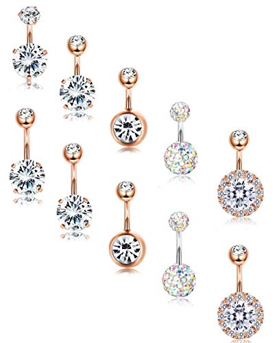 (FIBO STEEL 10 Pcs Navel Button Rings for Women CZ Belly Earring Short Bar 8MM 10MM Rose Gold-Tone)