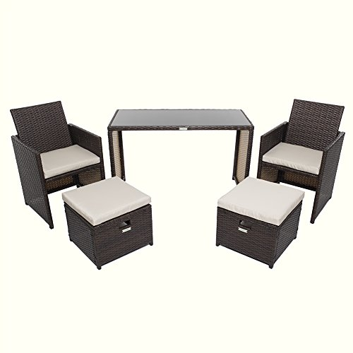 Wicker Patio Furniture Set, Chicreat 5 PC Set with Table Chairs and Ottomans , Brown Rattan with Polyester Cushioned Seats