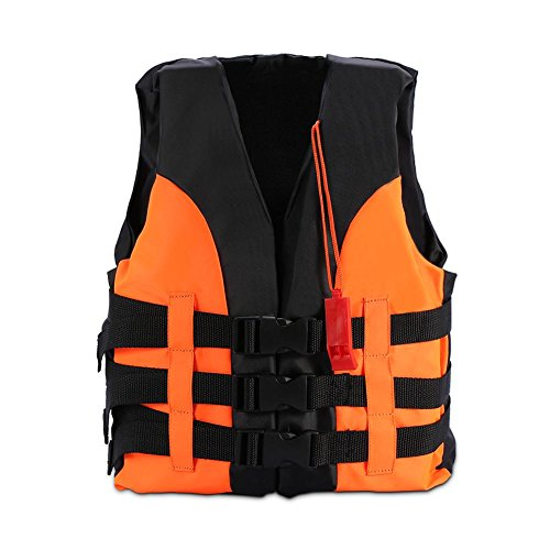 Child Classic Series Vest Life Jacket Type Personal Flotation Device Children Safety Swimwear with Whistle(5-12 Years Old-Orange)