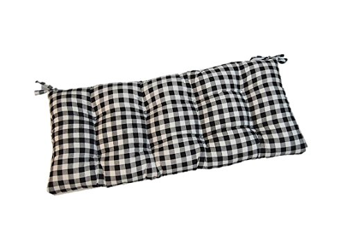 Resort Spa Home Decor Black Plaid/Country Checkered/Checkerboard Indoor Cotton Tufted Cushion with Ties for Bench, Swing, Glider - Choose Size (60