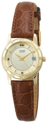 Citizen Women's EU0512-07P Gold-Tone Brown Leather Strap Watch