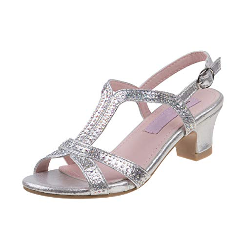 Kids Dress Sandals - Nanette Lepore Girls Rhinestone Glitter Dress Sandals (Little Kid, Big Kid) (12 M US Little Kid, Silver Stone)'