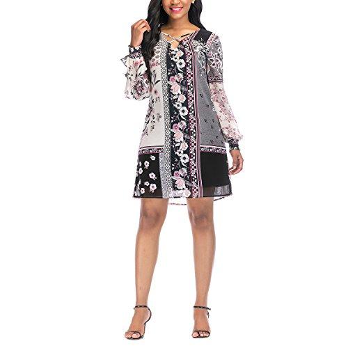 OneWorld Women's Floral Print Criss Cross V Neck Split Sleeve Mini Tunic Dress(XL) -