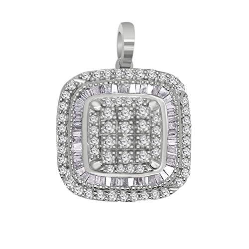 14K Gold Round & Baguette Shape Diamond Halo Cluster Pendant (0.84 Cttw, I2, J) (white-gold) - Omega 14k Necklace