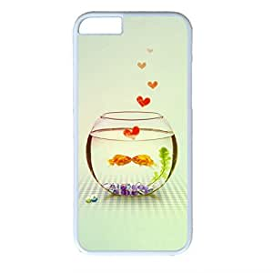 iCustomonline Kissing Love Fish Couple White Plastic Hard Back Shell for iPhone 6( 4.7 inch)