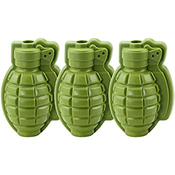 70f8a0dc9976 Amazon.com: HINMAY Grenade Ice Cube Mold Silicone 3D Life Size Hand ...