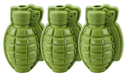 (HINMAY 3-Piece Grenade Ice Cube Mold Silicone 3D Life Size Hand Grenade Chocolate Candy Bath Bomb Molds Whisky Cocktail Ice Ball Tray Maker for Kids Men Military Fans)