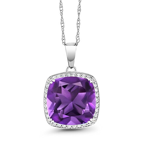 Amethyst Diamond Pendant Watch (6.74 Ct Cushion Purple Amethyst White Diamond 10K White Gold Pendant)
