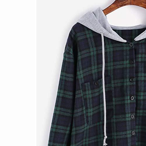 Capuche Manteau Femme Oyedens Femme Manches Treillis Sweatshirt Chic Pull Pas Tumblr Tops Vetement Hiver Longues Blouse Fille Cher Grande Femme Taille Vert Sweats Sports Femme HYwFF5
