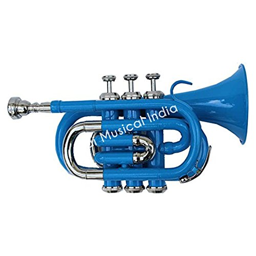 Queen Brass Ptr-10 Pocket Trumpet B-Flat BLUE + WHITE by Queen Brass