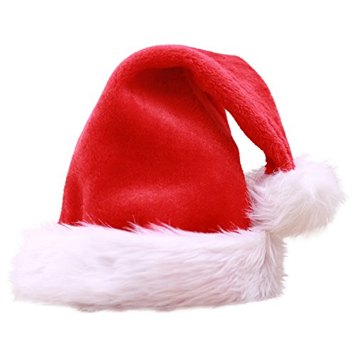 Escolourful Christmas Santa Hat Classic Costume Cosplay Plush Hat for Adult - 17.7''x11.8''