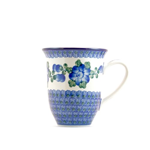 Ceramika Artystyczna Polish Pottery Mug Handmade Ceramic Blue Cornflower Large Coffee Cup