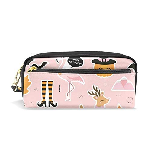 Happy Halloween Pumpkin Flamingo Pencil Case Cosmetic Bag Travel Makeup Storage Bag -