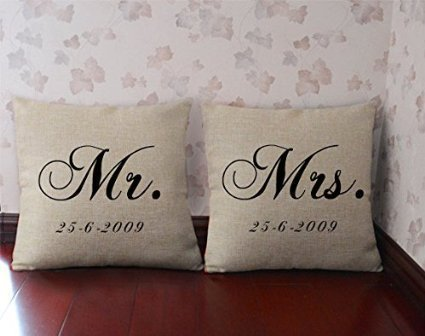 Mr And Mrs Pillowcase Personalized Throw Pillow Cover Custom Cushion Impressive Mr And Mrs Pillow Covers