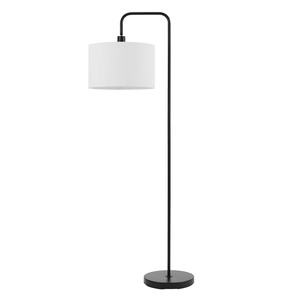 "Globe Electric Barden 58"" Floor Lamp, Matte Black, White Linen Shade, On/Off Socket Rotary Switch 67065"