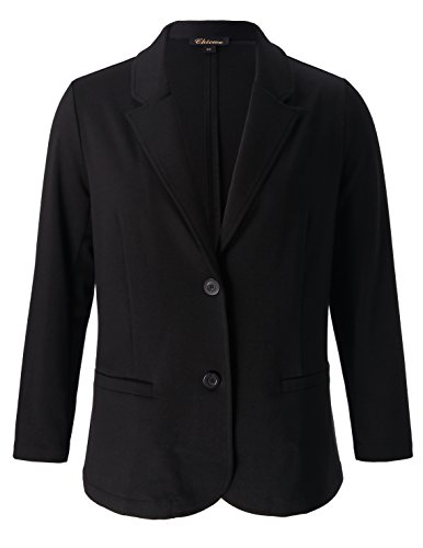 Chicwe Women's Plus Size Stretch Solid Classic Suit Jacket - Casual and Work Blazer (Classic Jacket)