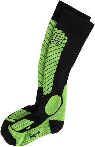 (CEP Women's Progressive+ Race Ski Socks, Size IV (Calf 15.5-17.5-Inch), Black/Green)