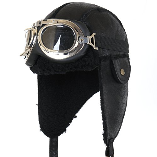 ililily Aviator Hat Winter Snowboard Fur Trim Ear flaps Trooper Trapper Pilot Hat with Goggles (aviator-403-1) (Couples Cosplay Costumes)