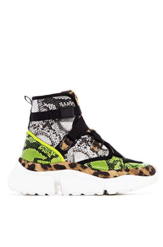 Cape Robbin Superstars Leopard High Top Lace Up Platform Fashion Sneakers Bootie (10, Leopard - Shoes Platform Lime