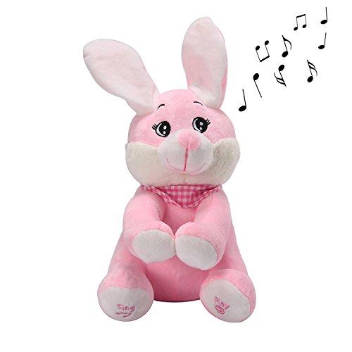 niceEshop(TM) Lapin Mignon en Peluche Qui Peut Chanter et Bouger Ses Oreilles, Jouet en Peluche Lapin Musical Électrique pour Bébé et Enfants (Rose)