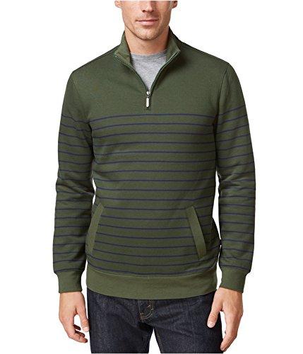 Club Room Mens Ponte Striped Mock Turtleneck Sweater Green L