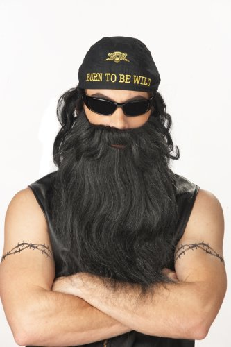 California Costumes Biker Beard And Moustache, Black/Grey, One Size Costume (Costume Beards For Sale)